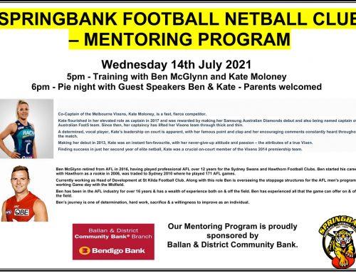 SPRINGBANK FOOTBALL NETBALL CLUB – MENTORING PROGRAM